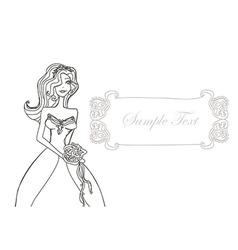 Beautiful bride doodle card vector