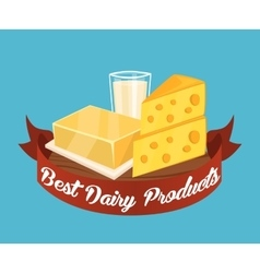 Best dairy products banner with red ribbon vector image