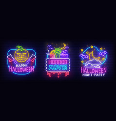 big set neon billboard theme happy halloween vector image