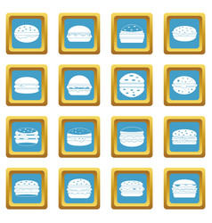 Burger icons azure vector