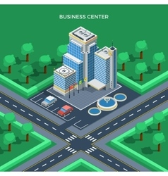 Business Center Isometric Top View Concept vector image