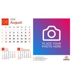 calendar for august 2019 design print template vector image