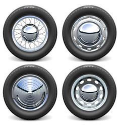 Car tires with chrome disks vector