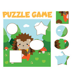Cartoon hedgehog in forest puzzle for toddlers vector