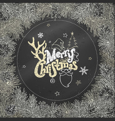 Chalk christmas coniferous frame on blackboard vector