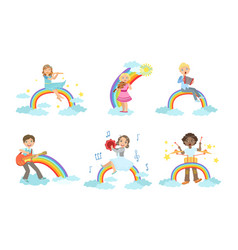 Children playing musical instruments while sitting vector