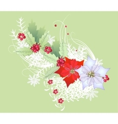 Christmas Branch with Snowflakes and Poinsettia vector