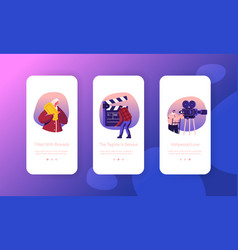 Cinematograph industry mobile app page onboard vector