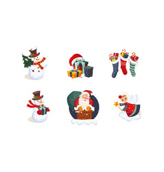 collection christmas objects cute bright new vector image