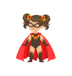 Comic brave girl kid in superhero black costume vector