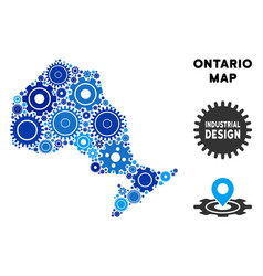 Composition ontario province map of gears vector