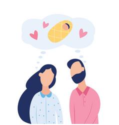 Couple dream about child fertility treatment flat vector