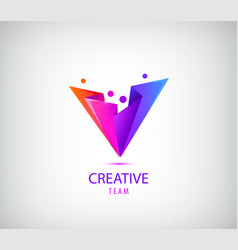 creative team logo colorful abstract people vector image