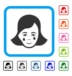 Crying woman face framed happy icon vector