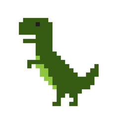 cute pixel dinosaur isolated on white background vector image
