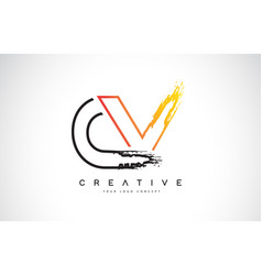 Cv creative modern logo design with orange and vector