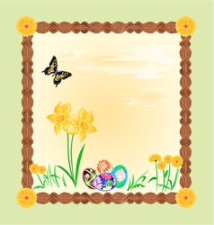 Daffodil and easter eggs with butterfly frame vector image