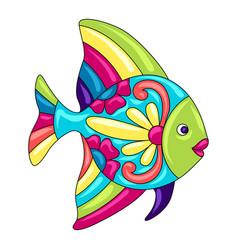 Decorative ornamental fish mexican ceramic cute vector