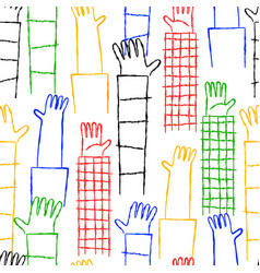 diverse colorful hand raised up seamless pattern vector image