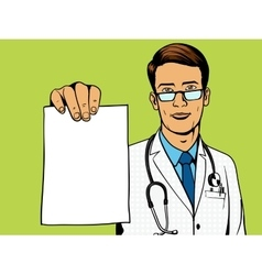 Doctor holding medical prescription pop art vector
