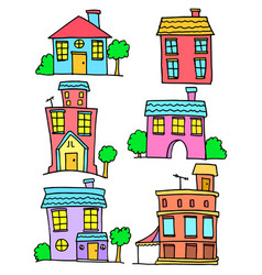 doodle of house set colorful collection vector image