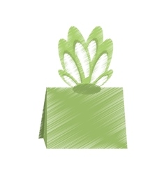 Drawing gift box green bow ornament vector