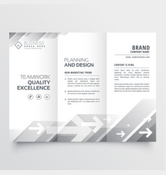 elegant trifold brochure design in gray shade vector image