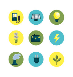 Environment buttons icons to care planet vector