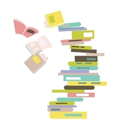 Falling stack of books vector