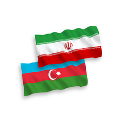 Flags azerbaijan and iran on a white background vector
