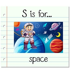 Flashcard letter S is for space vector