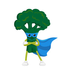 Flat broccoli character in cape mask vector