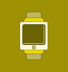 Flat on background digital watch vector