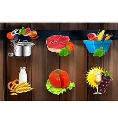 Food concepts icons on wooden board vector