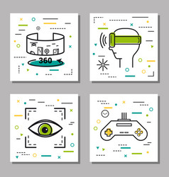 four finance thin line icons vector image
