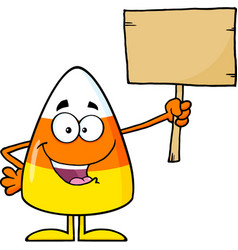 Funny candy corn holding a wooden board vector