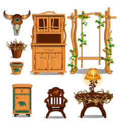 furniture for interior of the hut of a forester or vector image