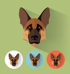 German shepherd portrait with flat design vector