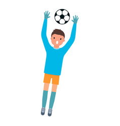 goalkeeper catch ball icon flat style vector image