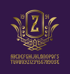 Golden monogram template in splendid wreath frame vector