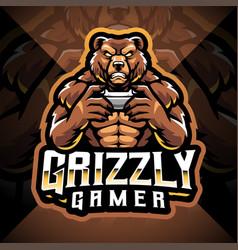 Grizzly gamer esport mascot logo design vector