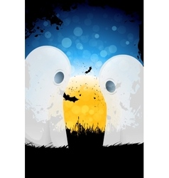 Grungy Halloween Background with Moon and Ghosts vector