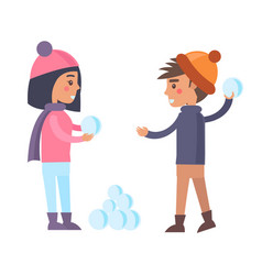 Happy boy and girl going to play snowballs winter vector