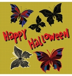 happy halloween night butterflies dead vector image