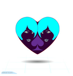 heart black icon love symbol two vector image