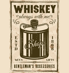 hip flask for whiskey vintage poster vector image