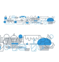 Hot-dog cupcake coffee cup tea and drinks snacks vector image