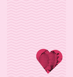 ink stained heart and pink pattern background vector image