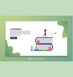 landing page template learning modern flat vector image