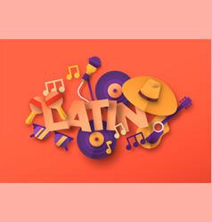 Latin salsa music paper cut icon quote concept vector